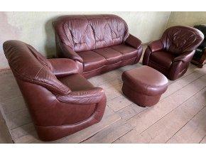 Luxusní kožená sedací souprava 3+1+1+taburet