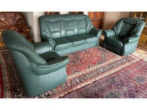 Luxusní kožená sedací souprava 3+1+1, zelená