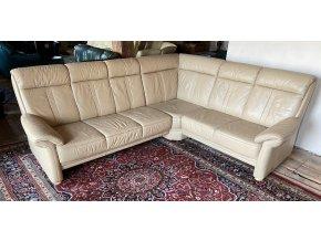 Luxusní rohová kožená sedací souprava, cappucino