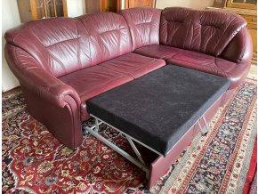 Rohová rozkládací kožená sedací souprava, barva bordeaux
