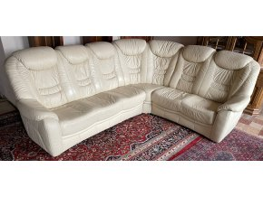 Luxusní rohová kožená sedačka, slonová kost