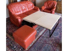 Luxusní rozkládací kožená sedací souprava 3+1+ taburet
