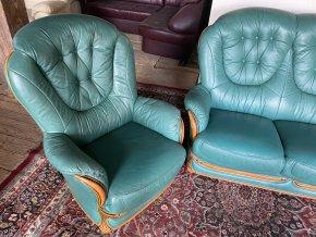 Luxusní italská kožená sedací souprava 3+1, tyrkysová