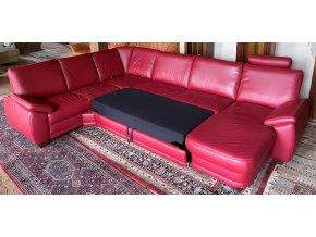 Luxusní rozkládací kožená sedací souprava ve tvaru U, červená