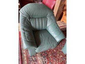 Luxusní kožená sedací souprava 3+1+1, zelená barva
