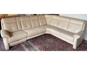 Luxusní rohová kožená sedací souprava, 300x245cm