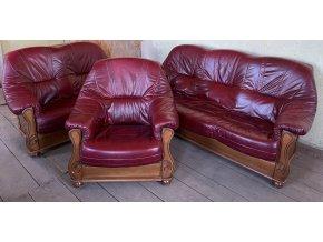 Luxusní dubová rustikální kožená sedací souprava 3+2+1