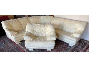 Luxusní rohová kožená sedací souprava + křeslo, 245x280cm