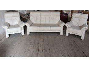 Luxusní kožená sedací souprava 3+1+1, béžová