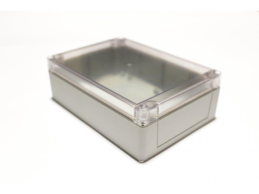 Plastová krabička BK214, šedá, průhledné víko