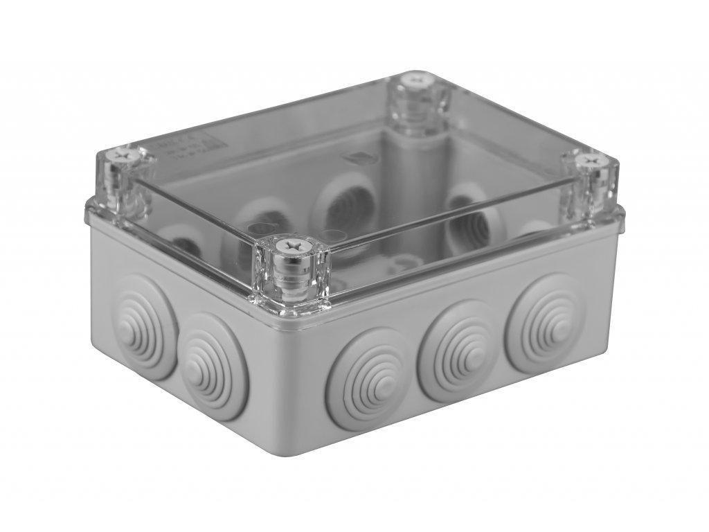 Plastová krabička S-BOX306P, šedá s průhl. víkem