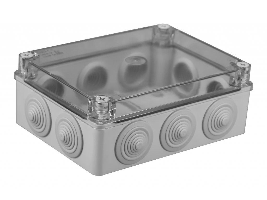 Plastová krabička S-BOX406P, šedá s průhl. víkem
