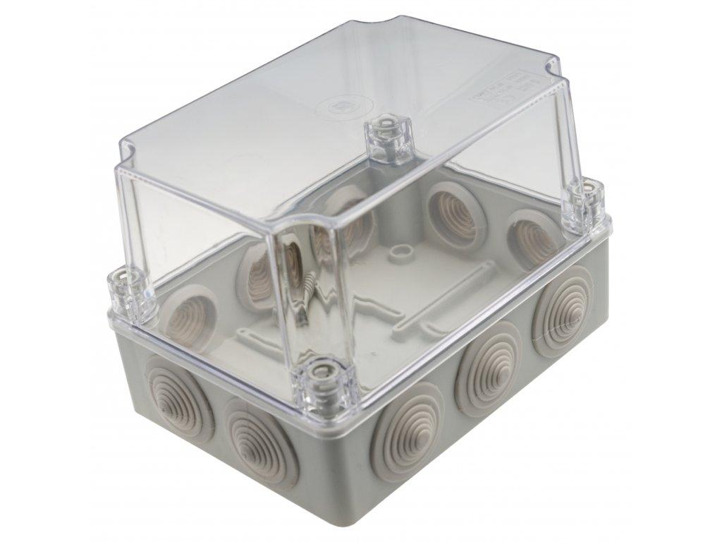 Plastová krabička S-BOX406HP, šedá s průhl. víkem
