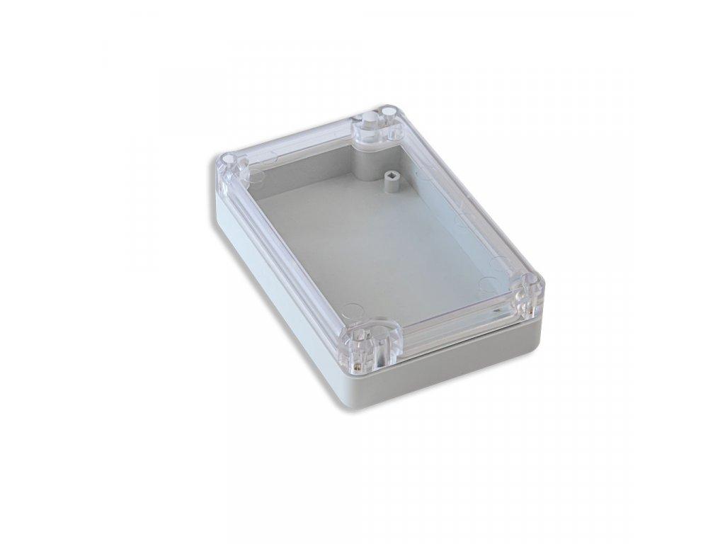 Plastová krabička KM77H TM, šedá, průhledné víko