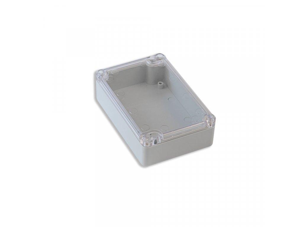 Plastová krabička KM76, šedá, průhledné víko