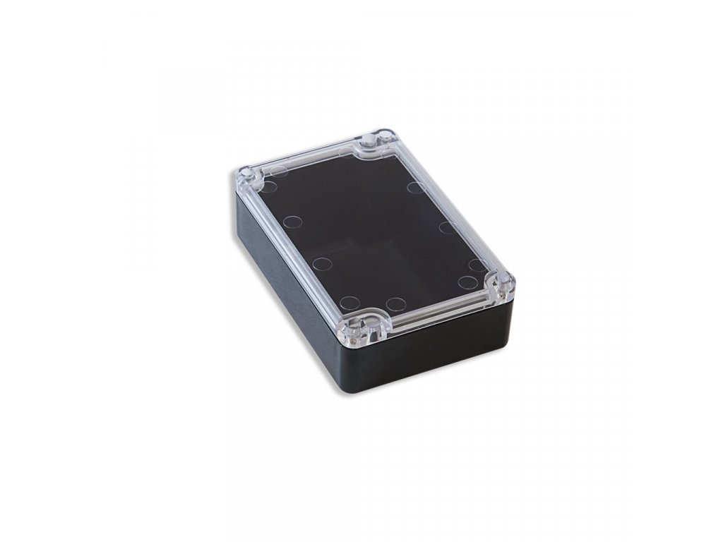 Plastová krabička KM76, černá, průhledné víko