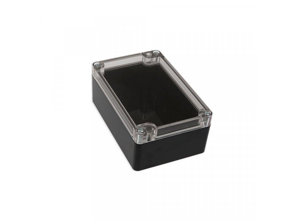 Plastová krabička KM175H TM, černá, průhledné víko