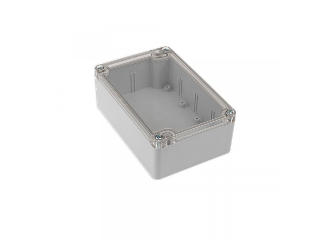 Plastová krabička KM176, šedá, průhledné víko