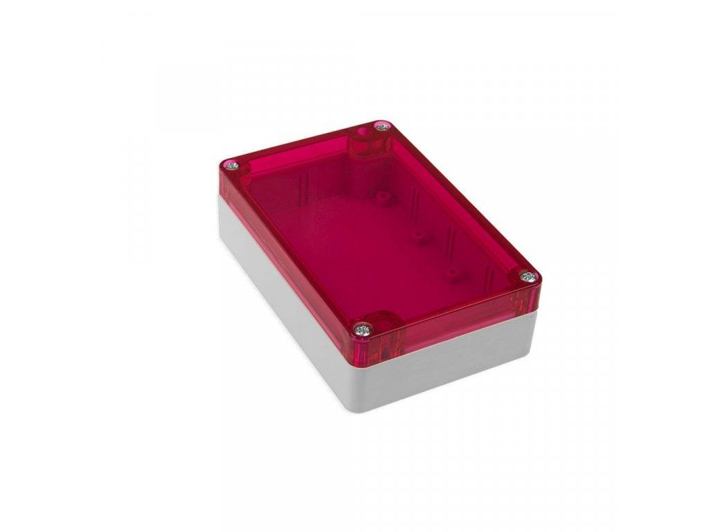 Plastová krabička KM177, šedá, červené víko