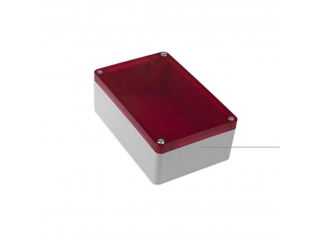 Plastová krabička KM176, šedá, červené víko
