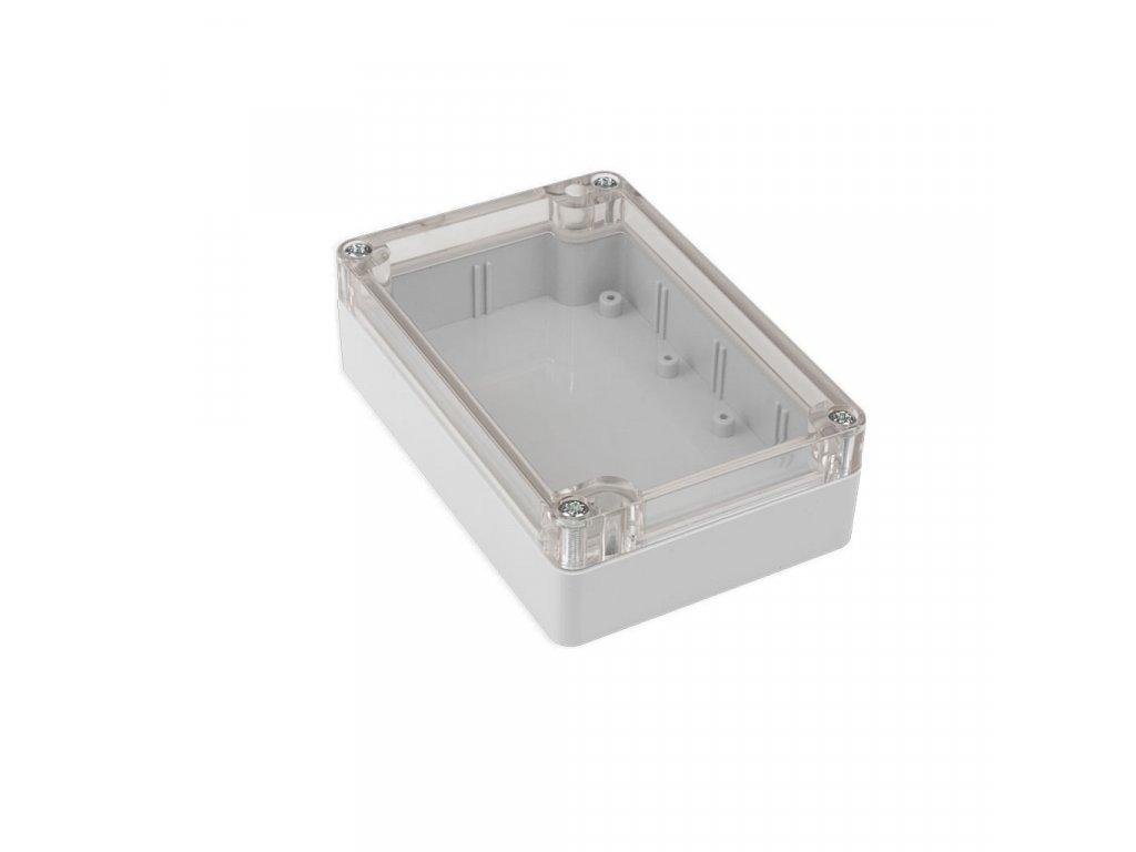 Plastová krabička KM177, šedá, průhledné víko