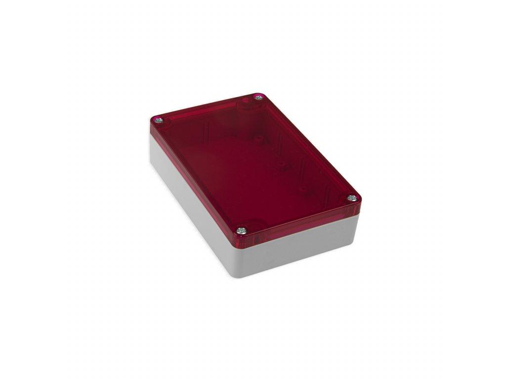 Plastová krabička KM178, šedá, červené víko