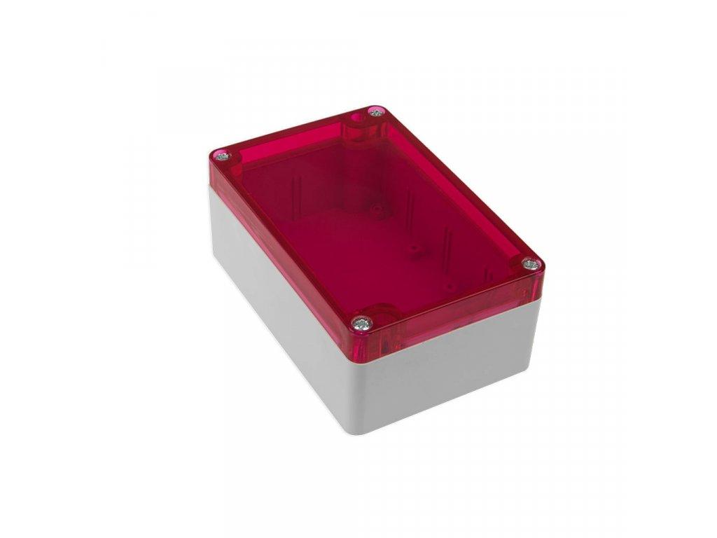 Plastová krabička KM175, šedá, červené víko