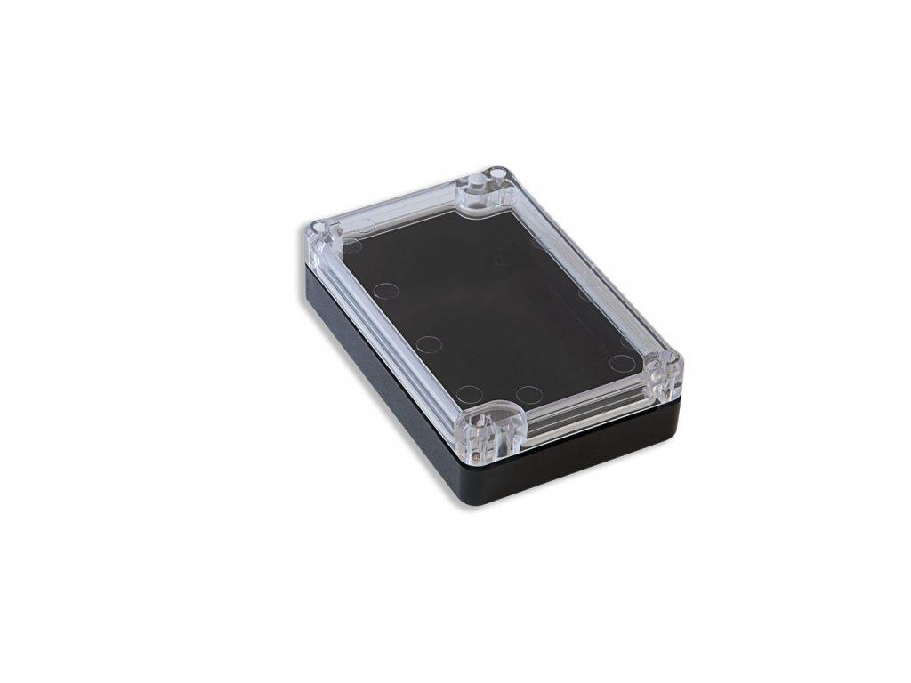 Plastová krabička KM77, černá, průhledné víko