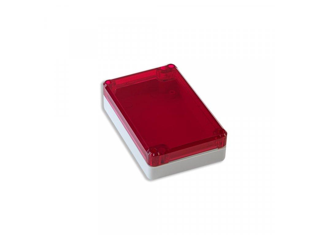 Plastová krabička KM77, šedá, červené víko