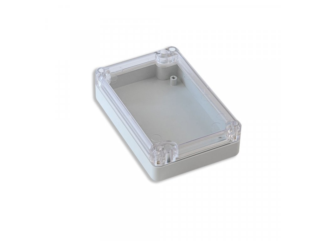 Plastová krabička KM77, šedá, průhledné víko