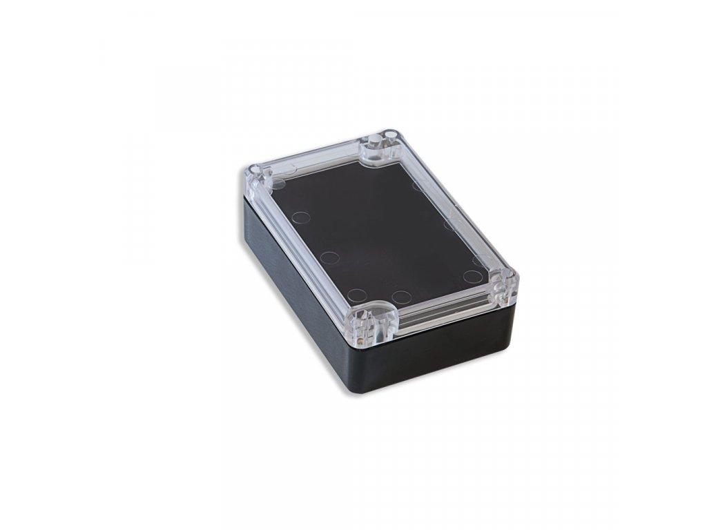 Plastová krabička KM75, černá, průhledné víko