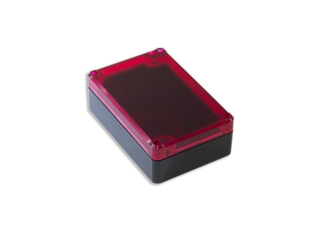 Plastová krabička KM75, černá, červené víko