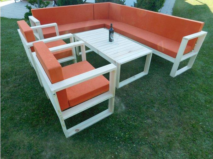 Dřevěná zahradní sestava SIENA - 4 díly, polstry v ceně