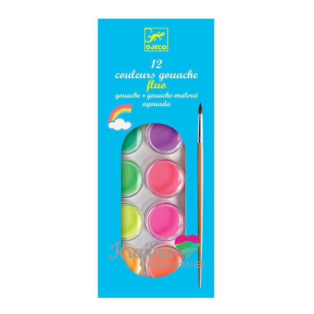vodové barvy 12 neon barev