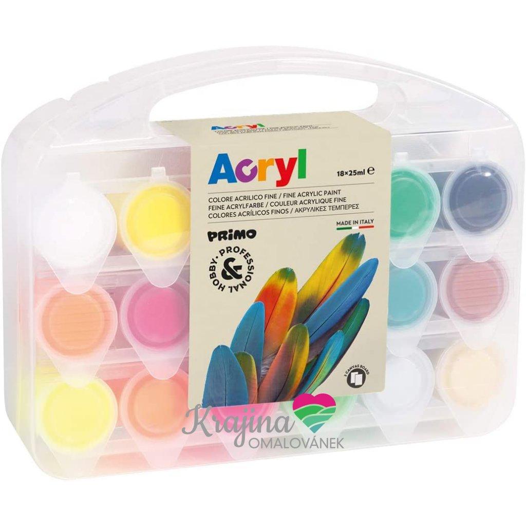 akrylové barvy 18 ksplusplátno