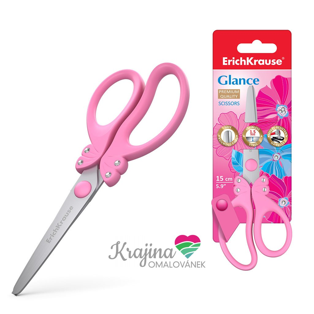 růžové nůžky motýlek