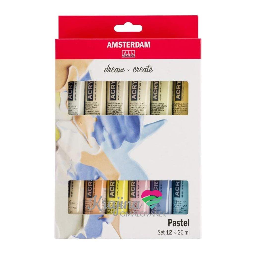 Akrylové barvy Amsterdam pastelová 12 ks