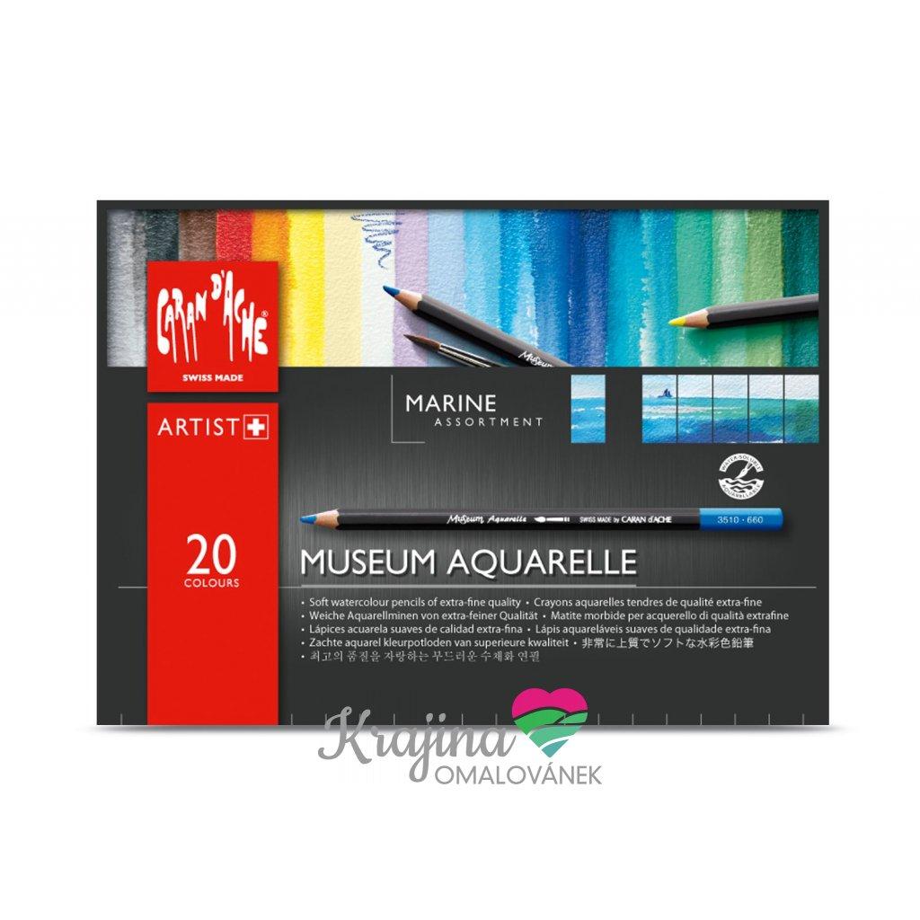 Caran d'Ache, 3510.920, Museum Aquarelle Pencils Marina, umělecké akvarelové pastelky, sada moře, 20 ks