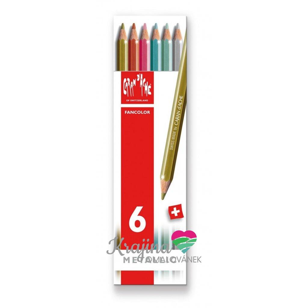 Caran d´Ache, 1284.406, Fancolor Metallic, pastelky metalické, 6 ks