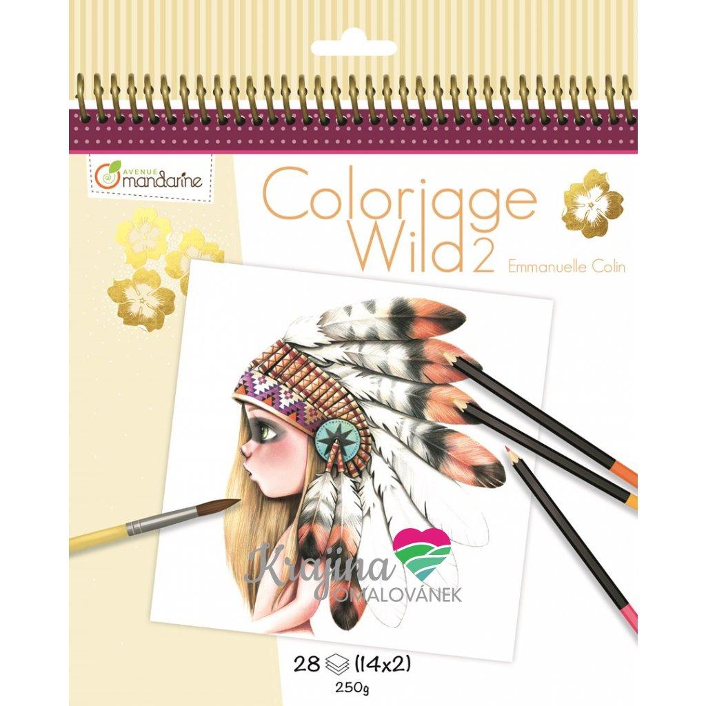 Umělecké omalovánky Coloriage Wild 2, GY068, Emmanuelle Colin