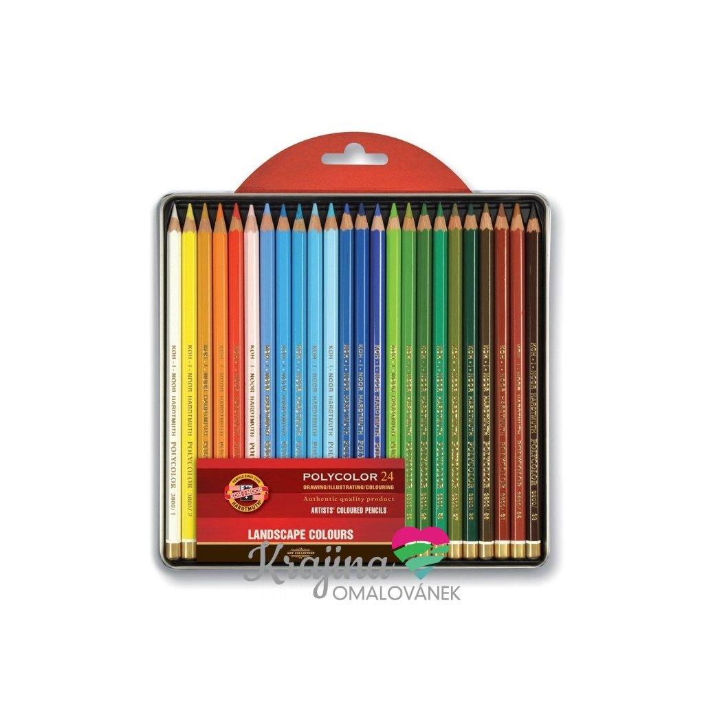 Koh-i-noor, 3824024015PL, Polycolor, souprava uměleckých pastelek, speciální řada, krajina 24 ks