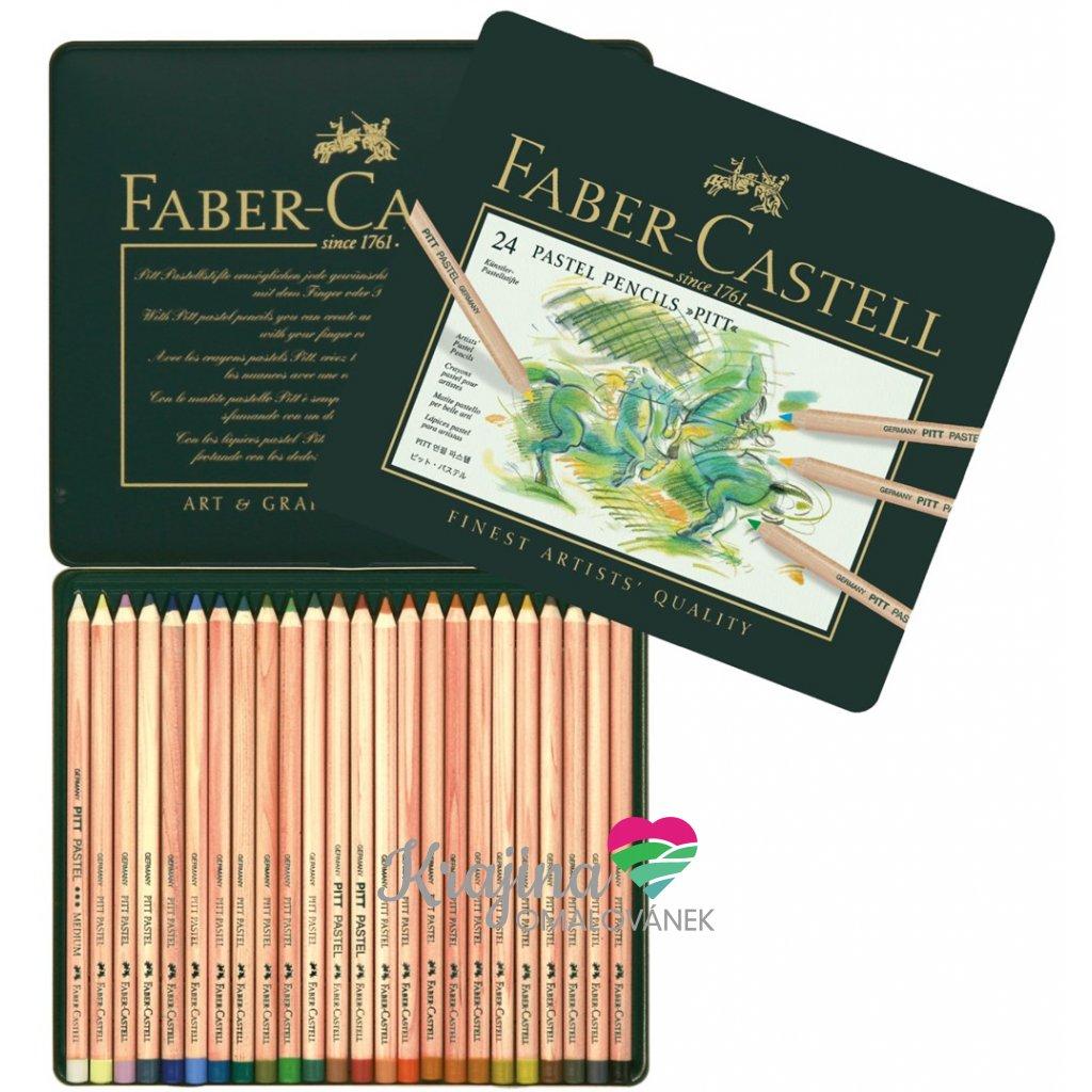 Faber-Castell, 112124, Pitt pastel, suchý pastel ve dřevě, 24 ks