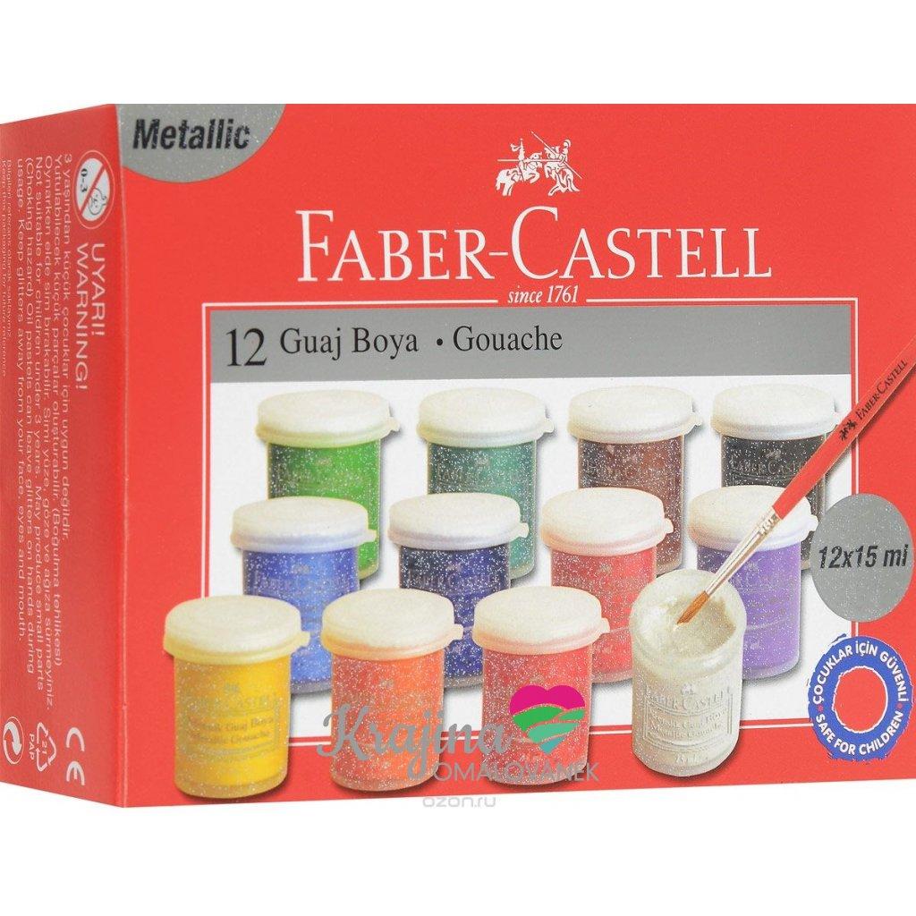 Faber-Castell, 160404, sada temperových barev, glitrové 12 barev