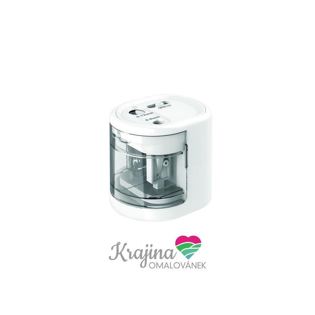 RAPESCO, PS12-USB, stolní ořezávátko se dvěma otvory, vstup na USB nebo baterie, bílá