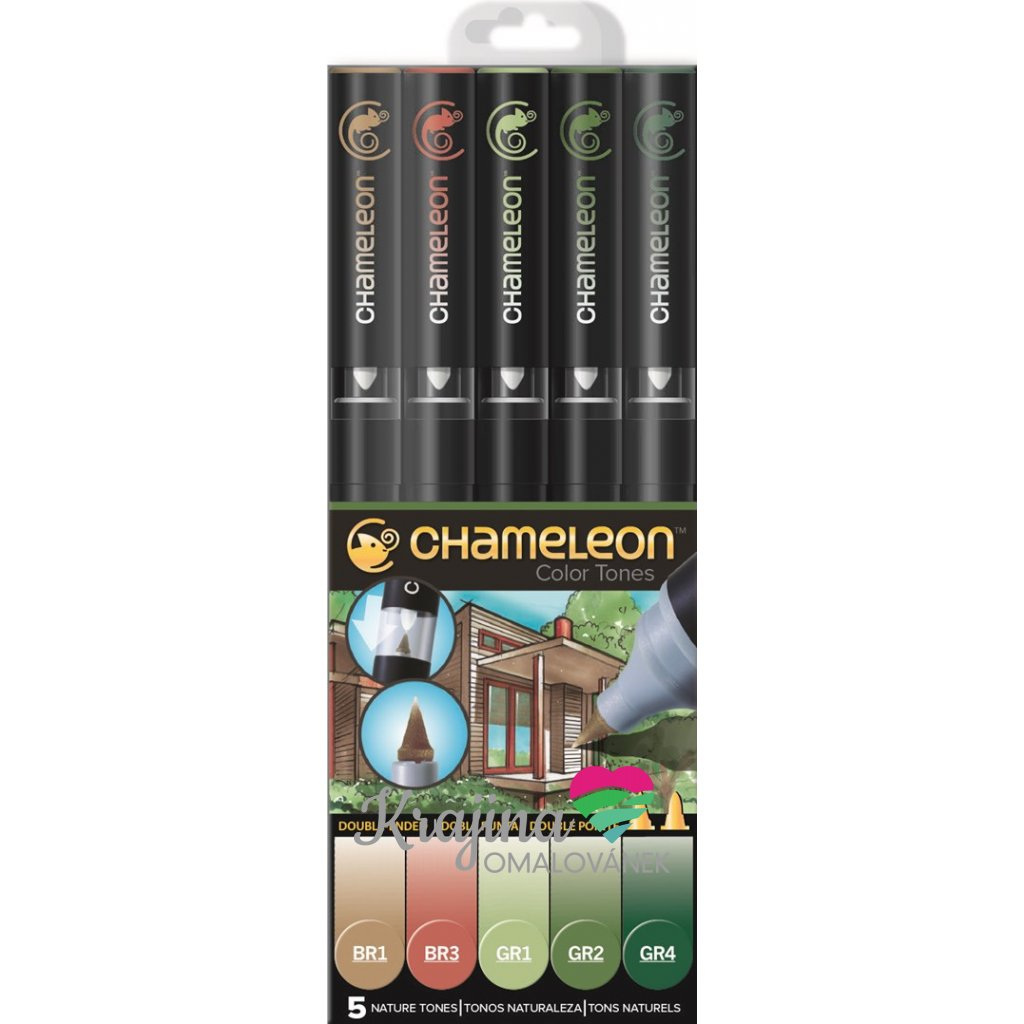CHAMELEON, CT0514, Color Tones, 5 Pen set, stínovací popisovače, 5 ks, Nature tones