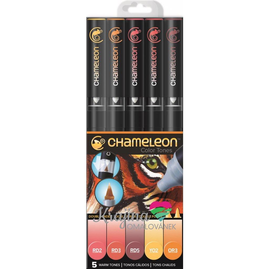 CHAMELEON, CT0511, Color Tones, 5 Pen set, stínovací popisovače, 5 ks, Warm tones