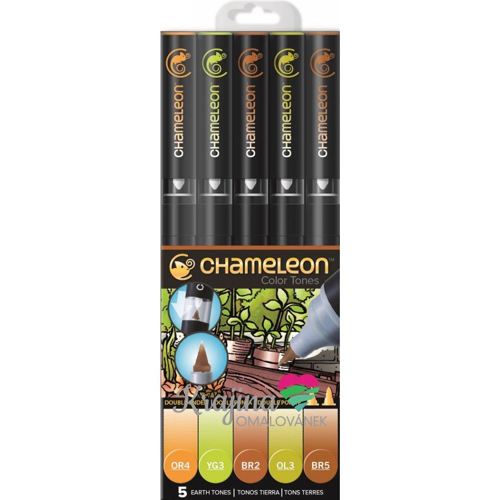 CHAMELEON, CT0503, Color Tones, 5 Pen set, stínovací popisovače, 5 ks, Earth tones