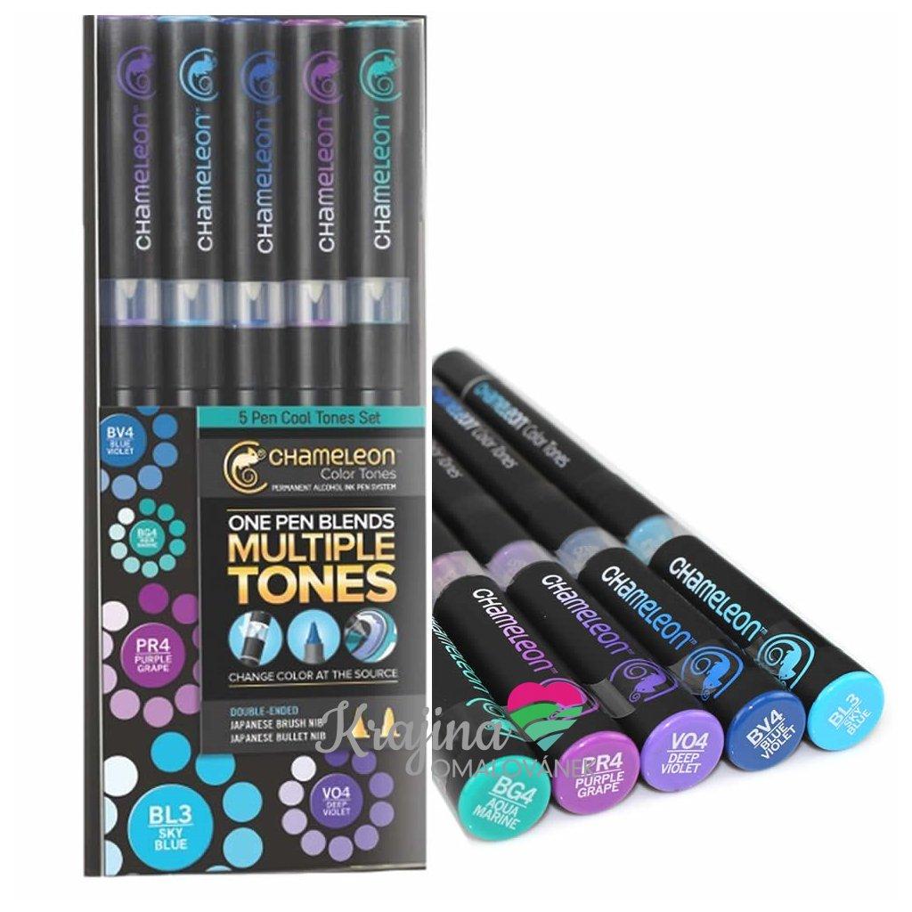 CHAMELEON, CT0504, Color Tones, 5 Pen set, stínovací popisovače, 5 ks, Cool tones