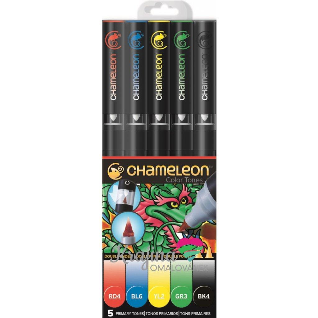 CHAMELEON, CT0502, Color Tones, 5 Pen set, stínovací popisovače, 5 ks, Primary tones