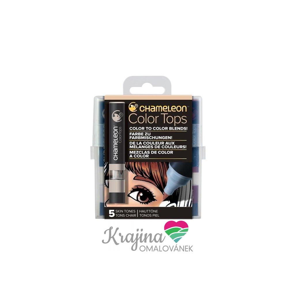 CHAMELEON, CT4510, Color tops, tonovací nástavce pro popisovače,  5 ks, Skin tones